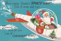 Santa's Christmas Space Ship! (hmdavid) Tags: santa christmas art illustration vintage toy card spaceship greeting coronation midcentury