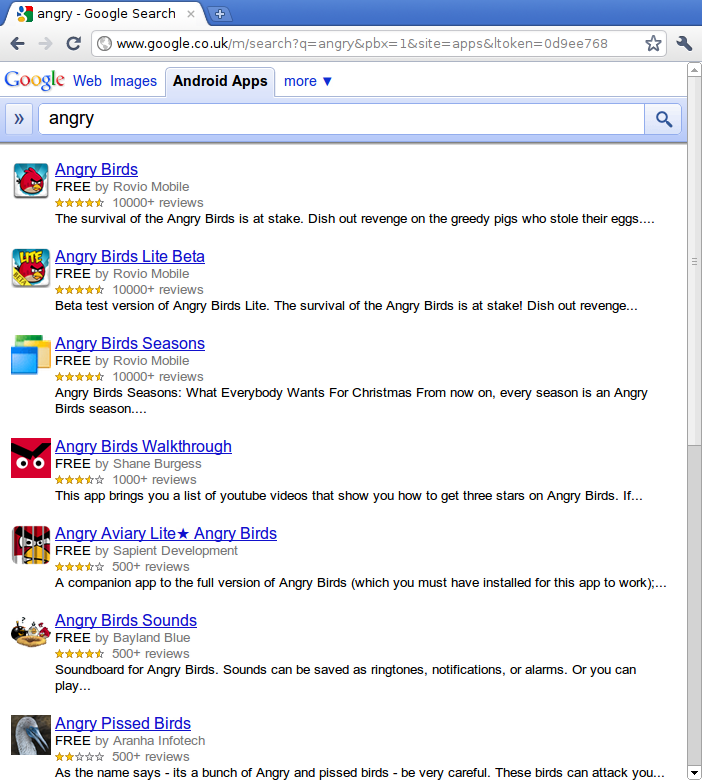 Android market search from a Desktop browser