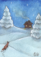 Fox in Wintertime ACEO