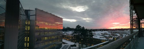 Red sunset at the office panorama
