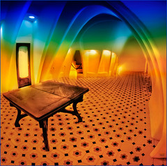 0680 Casa Batll - Gaud (Fisheye world) (QuimG) Tags: barcelona art architecture geotagged golden arquitectura interiors olympus fisheye textures ethereal gaud catalunya interiores casabatll desembre specialtouch quimg quimgranell joaquimgranell afcastell obresdart