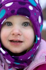 327 (Cristacat) Tags: winter portrait wet face up hat nose kid child close purple polka dot runny