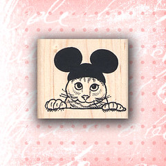 Cat Wearing Mickey Mouse Ears Rubber Stamps ~ Craft Stamps (RubberShow) Tags: black cat scrapbooking paper mouse craft ears rubber disney stamp mickeymouse etsy rubberstamp rubberstamping craftsupplies papercrafts mouseears craftstamps