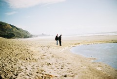 Yellow Cove (emibell) Tags: ocean christmas blur color beach sand glow bokeh marincounty nikonf2 stinsonbeach 2009 pacificcoast cfp colorfilm colorfilmphotography emibell