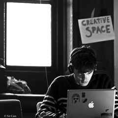 A study of occupation (Sir Cam) Tags: cambridge blackandwhite apple computer notebook university laptop study oldschools sircam combinationroom