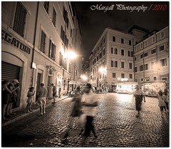 Street view in Rome - no HDR - Miniserie 1 of 4 Sepia in Rome (Margall photography) Tags: street people rome roma monochrome sepia night canon photography view shot sigma marco notturno 30d turism turist galletto margall