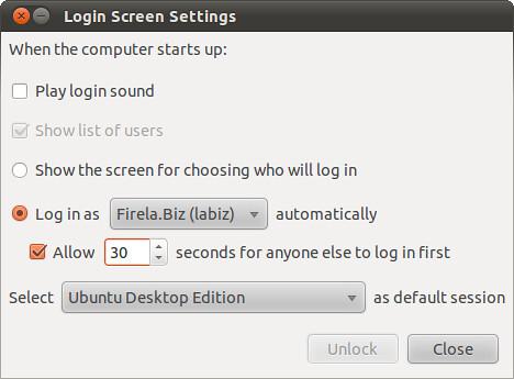 Login Screen Settings
