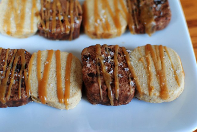 chocolate vanilla bean cookies with salty caramel glaze