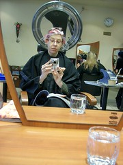 Under the Dryer (jazzijava) Tags: hairdye mirror december photos heater dye appointment drying selfshot valentinos