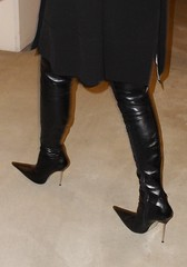 going out for dinner (Rosina's Heels) Tags: leather high boots thigh heels stiletto overknee leggings