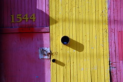 auto wood pink red urban car yellow automobile paint industrial garage small entrance business repair service 1544