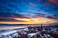 Sunset over Dundee's West End (ajnabeee) Tags: sunset sky sun west clouds riverside rivertay dundee dusk aerial tay explore end westend railbridge perthroad explored dundeewestend shahbazmajeed