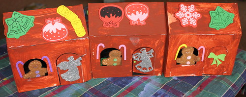 Decorated Cardboard Gingerbread Houses