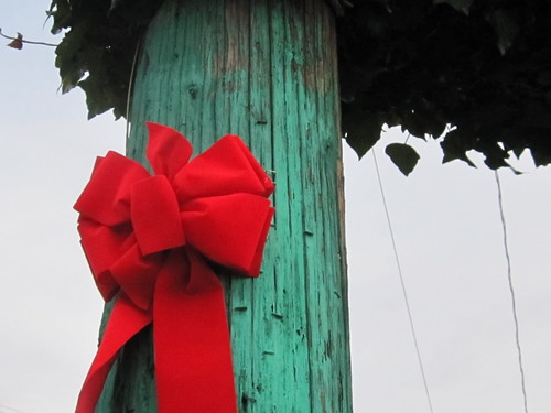 Christmas: Red Ribbon on a Painted Green Pole