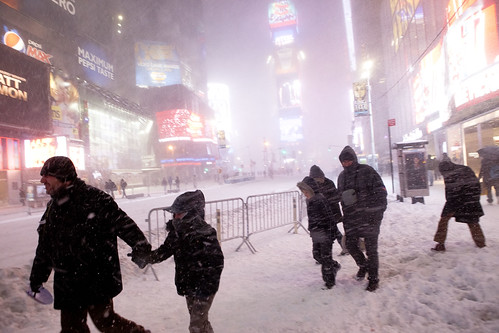 Trekking Times Square - New York Blizzard Snowstorm Blargfest