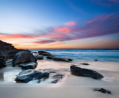 tamarama beach (Pawel Papis Photography) Tags: ocean blue red sea sky cloud seascape beach nature water rock stone sunrise landscape coast twilight sand tide wave australia lightning tamarama vertorama