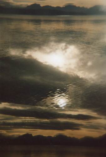sunset cloud sun mountain lake water gold holga lomography doubleexposure heavyweight