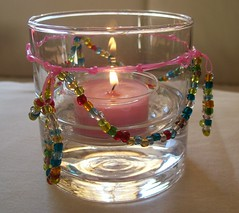 Candle Holder w/ Bead Bunting, lit