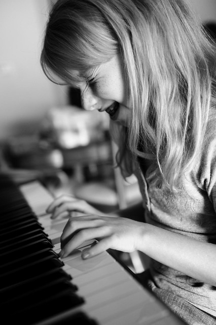 Hope playing the piano
