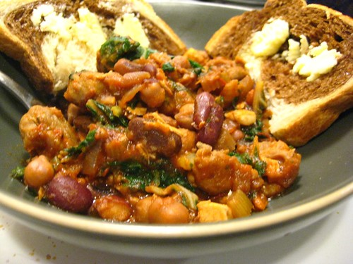 chard & mixed bean stew