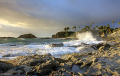 Laguna Surge (Didenze) Tags: light sunset sky painterly golden rocks wave cliffs ex
