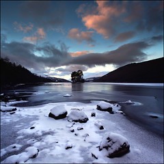 Crannog Loch Tay (angus clyne) Tags: road new wood old morning blue trees winter light red orange cloud sun lake fish snow man never cold color ice rock stone pine digital forest canon island gold dawn scotland boat highlands high fishing ancient angle angus path north wide pert