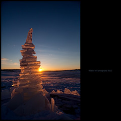 Ice Ice Baby (stella-mia) Tags: winter sunset sun snow ice norway frost lensflare snø iceicebaby 2470mm hightlight helgøya hedmarksmuseet canon5dmkii lakemjøsa annakrømcke