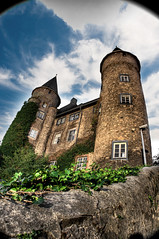 Herborn Castle (Werner Kunz) Tags: world old city longexposure trip travel blue trees light vacation sky moon holiday reflection tower art church water yellow wall night reflections river germany dill deutschland photography rising lights evening photo cozy nice nikon mainstreet europa europe foto hessen nacht wideangle best german turm fortress dri deutsch werner hauptstrasse fachwerk antike kunz ultrawideangle dillenburg wilhelmsturm herborn lahndillkreis nikond90 werkunz1 wernerkunz citabelle