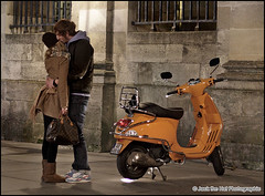 Goodnight Rider - 2010 (Jack the Hat Photographic) Tags: friends orange france boyfriend bike night canon french eos 50mm evening twilight hug kiss kissing girlfriend couple vespa dusk duo pair bordeaux lovers farewell cycle cuddle motorcycle 5d goodbye moped embrace smooch partners snog aurevoir embracing solong jamierobertson jackthehat