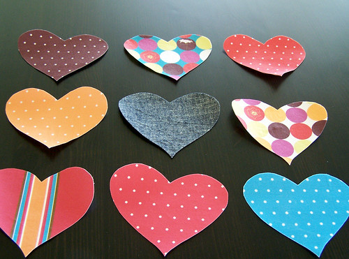 Iron-On Organic Fabric Heart Appliques