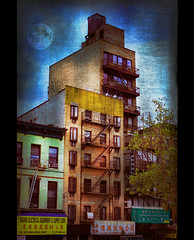 Chinatown Moon (jackaloha2 (Away)) Tags: nyc windows moon signs stairs photoshop buildings chinatown textures texturedlayers topazadjust saariysqualitypictures magicunicornverybest selectbestexcellence sbfmasterpiece jackaloha2 chinatownmoon