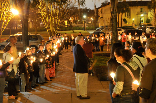 Dean of the Chapel Patrick Power leads the MLK Candelight Vigil