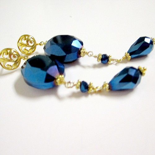 Metallic Blue and 24k Gold Vermeil Pierced Earrings