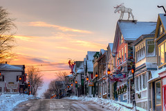 Maine street Bar harbor Maine winter (Nate Parker Photography) Tags: maine barharbor acadianationalpark winter snow mainestreet clouds sky streetlights moose wicked