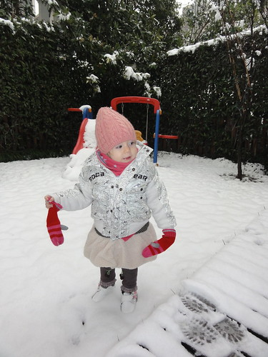 Elaine in the snow in our backyard