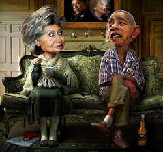 Reminiscence (rwpike) Tags: illustration photomanipulation photoshop clinton president humor hillary caricature pike obama rodney reminiscence barack rwpike