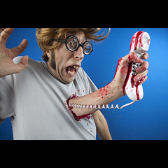 386/730: Telephone call for Mr. Flibble! (Mr. Flibble) Tags: nerd glasses idiot blood hand phone arm telephone alien surprise ringing handset 730 explored flibble chestexplosion idrinkleadpaint mrflibblegeek