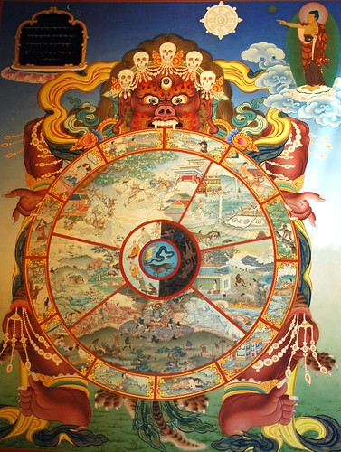 Traditional wall mural of Yama holding the wheel of life, Buddhism in America, Sakya Monastery of Tibetan Buddhism, Seattle, Washington, USA by Wonderlane