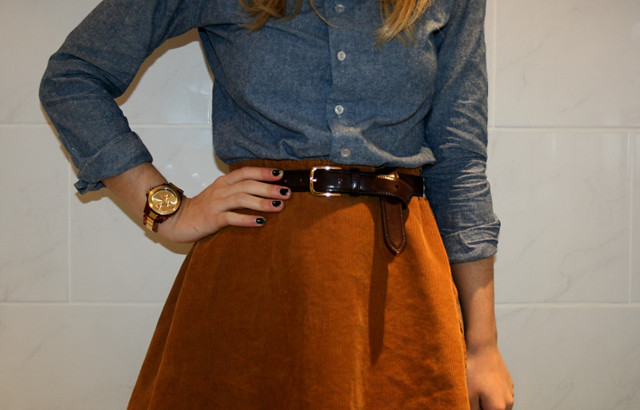 denim shirt high waisted skirt