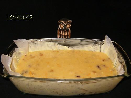 Cake arándanos y naranja-verter en molde