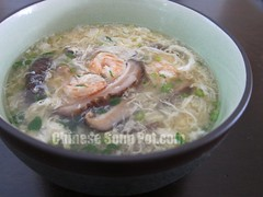 Egg Drop Soup with Shrimp and Cilantro