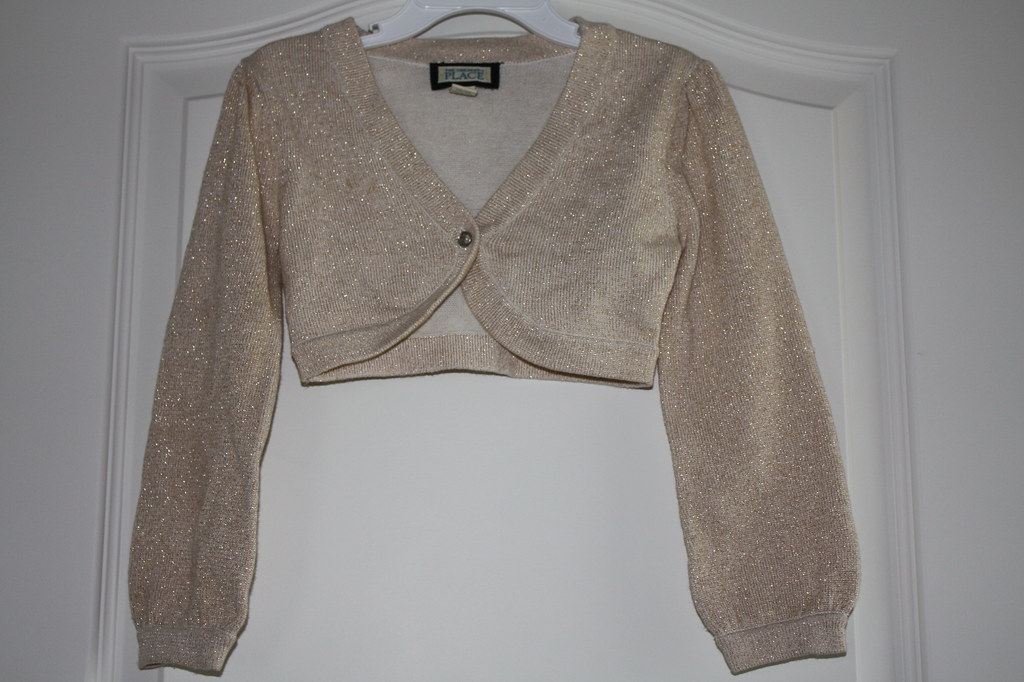 Sz 4 Cream/Gold Sweater Shrug