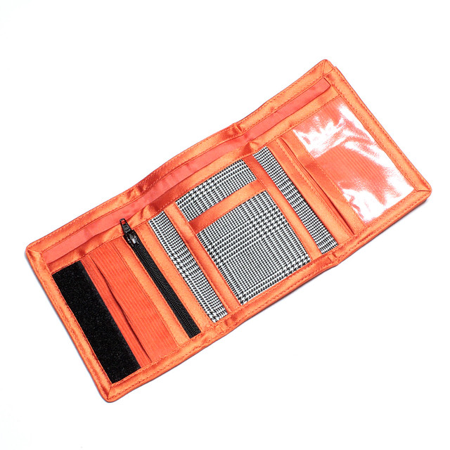 Handmade orange and check wallet