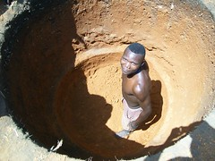 A local man prepares to dig