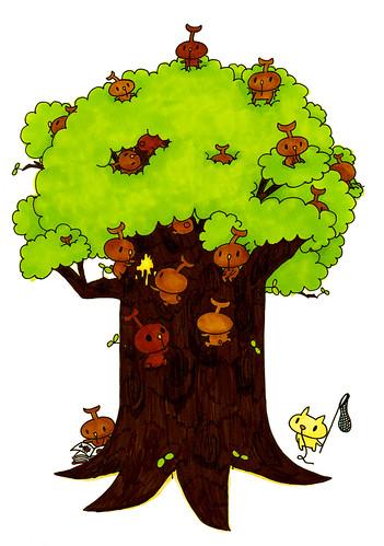 群衆絵_カブトむーの木登り