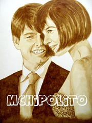 "Coffee Painting ""Aromatic Tomkat"" (Ella Hipolito) Tags: celebrity tomcruise portraiture katieholmes tomkat coffeepainting"