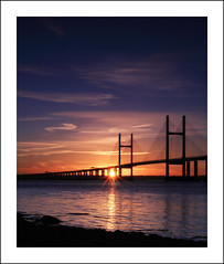 Second Severn Crossing at Sunrise (1) (-terry-) Tags: bridge sky sun reflection sunrise river dawn flickr severn riversevern explore secondseverncrossing flickrexplore seeninexplore