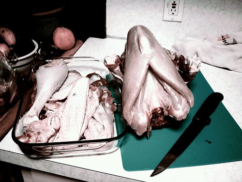 Carving Raw Turkey