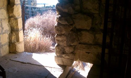 Milk barn doorway and drain
