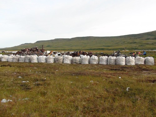 After:  Trash is sorted and bagged, improving the quality of the tundra and protecting the ground water.